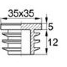 Заглушка пластиковая внутренняя с ребрами и плоской шляпкой для труб квадратного сечения с внешними габаритами 35x35 мм и толщиной стенки 2.5-5.0 мм