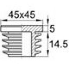 Заглушка пластиковая внутренняя с ребрами и плоской шляпкой для труб квадратного сечения с внешними габаритами 45x45 мм и толщиной стенки 3.0-5.0 мм.
