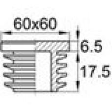 Заглушка пластиковая внутренняя с ребрами и плоской шляпкой для труб квадратного сечения с внешними габаритами 60x60 мм и толщиной стенки 2.5-5.0 мм.