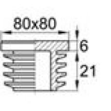 Заглушка пластиковая внутренняя с ребрами и плоской шляпкой для труб квадратного сечения с внешними габаритами 80x80 мм и толщиной стенки 2.9-5.0 мм.