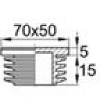 Заглушка пластиковая внутренняя с ребрами и плоской шляпкой для труб прямоугольного сечения с внешними габаритами сечения 70x50 мм и толщиной стенки 2.0-5.0 мм.