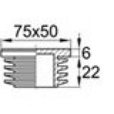 Заглушка пластиковая внутренняя с ребрами и плоской шляпкой для труб прямоугольного сечения с внешними габаритами сечения 75x50 мм и толщиной стенки 2.0-5.0 мм.