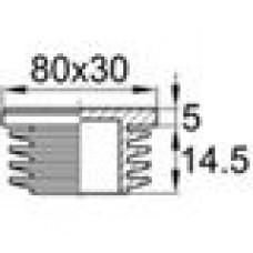 Заглушка пластиковая внутренняя с ребрами и плоской шляпкой для труб прямоугольного сечения с внешними габаритами сечения 80x30 мм и толщиной стенки 2.5-4.0 мм.