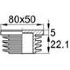 Заглушка пластиковая внутренняя с ребрами и плоской шляпкой для труб прямоугольного сечения с внешними габаритами сечения 80x50 мм и толщиной стенки 1.5-5.0 мм.