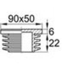 Заглушка пластиковая внутренняя с ребрами и плоской шляпкой для труб прямоугольного сечения с внешними габаритами сечения 90x50 мм и толщиной стенки 2.0-4.5 мм.