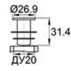 Заглушка пластиковая внутренняя с тонкой шляпкой для труб круглого сечения ДУ20.