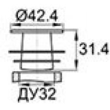 Заглушка пластиковая внутренняя с тонкой шляпкой для труб круглого сечения ДУ32.