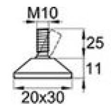 Опора резьбовая шарнирная с прямоугольным основанием 20x30 и металлической резьбой М10х25