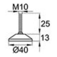 Опора резьбовая шарнирная с круглым основанием диаметром 40 мм и металлической резьбой М10х25