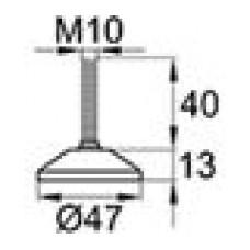 Опора резьбовая шарнирная с круглым основанием диаметром 47 мм и металлической резьбой М10х25