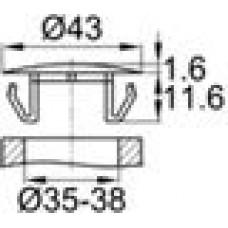 Заглушка пластиковая с тонкой шляпкой 52 мм для отверстия диаметром 45-47.5 мм.
