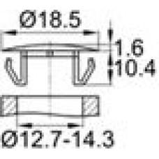Заглушка пластиковая с тонкой шляпкой 18.5 мм для отверстия диаметром 12.7-14.3 мм.