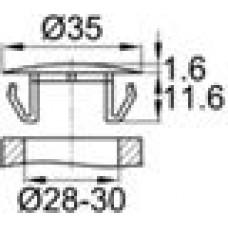 Заглушка пластиковая с тонкой шляпкой 18.5 мм для отверстия диаметром 28-30 мм.