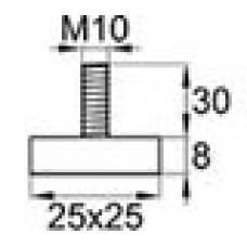 Опора резьбовая с квадратным основанием 25х25 и металлической резьбой М10х30