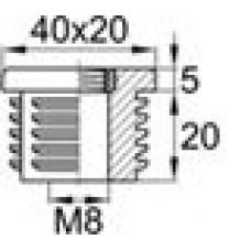 Заглушка пластиковая внутренняя с металлической резьбой М8 для труб овального сечения с внешними габаритами сечения 20х40 мм и толщиной стенки трубы 1.5-2 мм