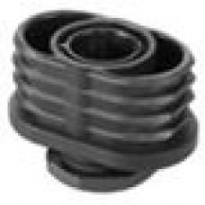 Опора пластиковая регулируемая c резьбовым соединением M22x20 для труб овального сечения с внешними габаритами 50x30 мм и толщиной стенки трубы 1.5-2 мм.