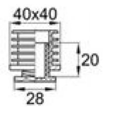 Опора пластиковая регулируемая резьбовым соединением М22x25 под трубу квадратного сечения с внешними габаритами 40х40 мм, толщина стенки трубы 1.5-2 мм