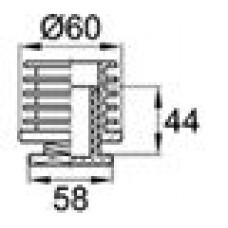 Опора пластиковая регулируемая с резьбовым соединением M42x2 для труб круглого сечения с внешним диаметром 60 мм и толщиной стенки трубы 1.5-2 мм.