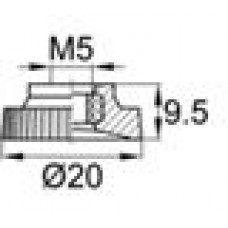 Барашек М5 с рукояткой 20мм