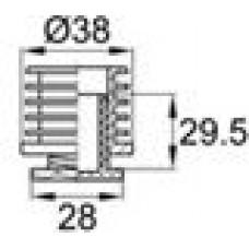 Опора пластиковая регулируемая резьбовым соединением М22x25 под трубу круглого сечения с внешним диаметром 38 мм, толщина стенки трубы 1.5-2 мм