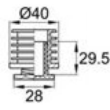 Опора пластиковая регулируемая резьбовым соединением М22x25 под трубу круглого сечения с внешним диаметром 40 мм, толщина стенки трубы 1.5-2 мм