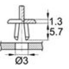 Пластиковая заклепка с распорной втулкой под отверстие диаметром 3 мм.