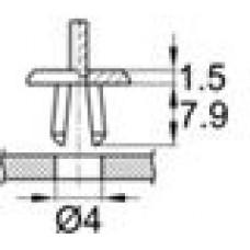 Пластиковая заклепка с распорной втулкой под отверстие диаметром 4 мм.