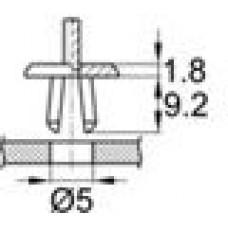 Пластиковая заклепка с распорной втулкой под отверстие диаметром 5 мм.