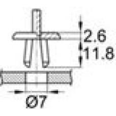 Пластиковая заклепка с распорной втулкой под отверстие диаметром 7 мм.
