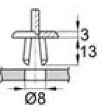 Пластиковая заклепка с распорной втулкой под отверстие диаметром 8 мм.
