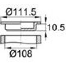 Универсальная пробка. Изготовлена из полиэтилена высокого давления. Диаметр заходящей части — 108 мм, глубина заходящей части — 10.5 мм.