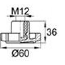 Ручка-фиксатор с пластиковой лепестковой рукояткой диаметром 60 мм и резьбовым отверстием M12