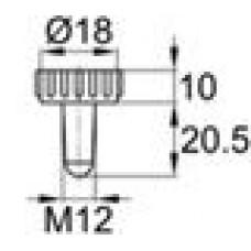 Пластиковая заглушка под отверстие диаметром 9.6-11 мм. Подходит под резьбу М12.