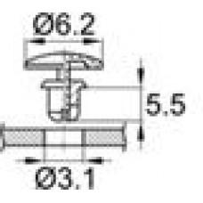 Пластиковая заклепка под отверстия диаметром 3.1 мм.