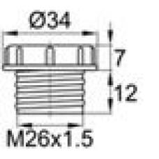 Пластиковый колпачок для защиты внутренней резьбы M26x1.5.