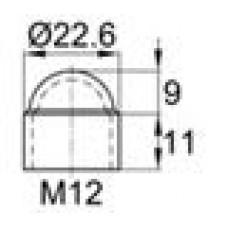 Колпачок пластиковый на болт/гайку M12 с диаметром основания 22.6 мм и высотой 20 мм