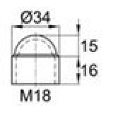 Колпачок пластиковый на болт/гайку M18 с диаметром основания 34 мм и высотой 31 мм