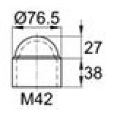 Колпачок пластиковый на болт/гайку M42 с диаметром основания 76.5 мм и высотой 65.5 мм