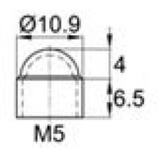 Колпачок пластиковый на болт/гайку M5 с диаметром основания 10.9 мм и высотой 10.5 мм