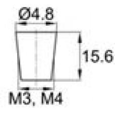 Термостойкая заглушка под отверстие диаметром 1.6-4.8 мм. Подходит под резьбу М3, М4. Выдерживает температуру до 315 °С.