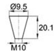 Термостойкая заглушка под отверстие диаметром 6.4-9.5 мм. Подходит под резьбу М10. Изготовлена из силикона. Выдерживает температуру до 315 °С.
