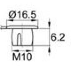 Пластиковая заглушка с лапкой под отверстие диаметром 9.5 мм и резьбу М10.