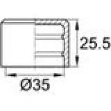 Заглушка пластиковая наружная для труб круглого сечения с внешним диаметром сечения 35 мм и любой толщиной стенки.