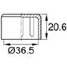 Заглушка пластиковая наружная для труб круглого сечения с внешним диаметром сечения 36.5 мм и любой толщиной стенки.