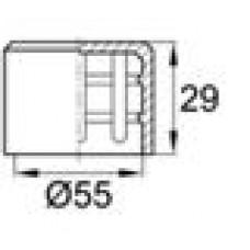 Заглушка пластиковая наружная для труб круглого сечения с внешним диаметром сечения 55 мм и любой толщиной стенки.