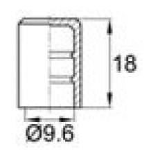 Заглушка пластиковая наружная для труб/прутков круглого сечения диаметром 9.6 мм.