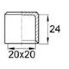 Заглушка пластиковая наружная для труб квадратного сечения с внешними габаритами сечения 20х20 мм.