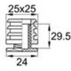 Опора пластиковая регулируемая резьбовым соединением М16x25 под трубу квадратного сечения с внешними габаритами 25х25 мм, толщина стенки трубы 1.5-2 мм