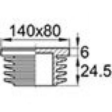 Заглушка пластиковая внутренняя с толстой шляпкой для труб прямоугольного сечения с внешними габаритами сечения 80х140 мм и толщиной стенки трубы 2-4.5 мм