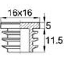 Заглушка пластиковая внутренняя с толстой плоской шляпкой для труб квадратного сечения с внешними габаритами сечения 16х16 мм и толщиной стенки 0.8-2 мм
